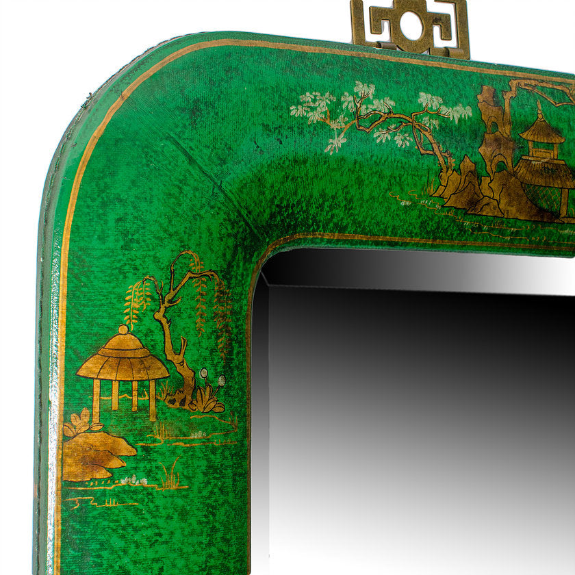 Chinoiserie Painted Leather Mirror