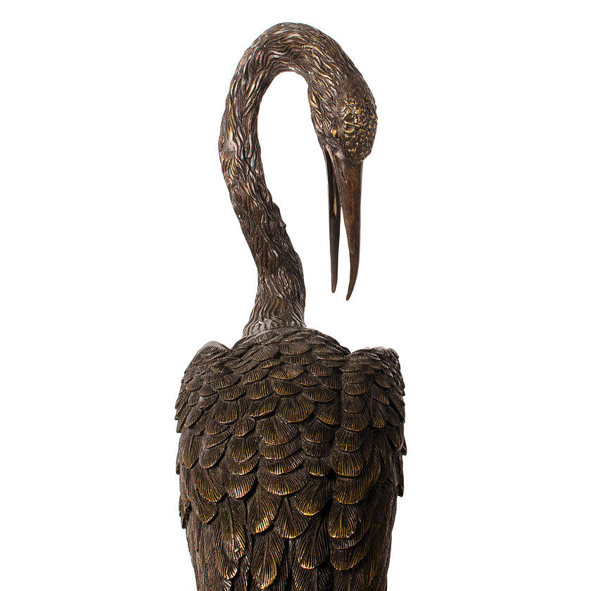 Crane and Tortoise Bronze Sculptures - a Pair