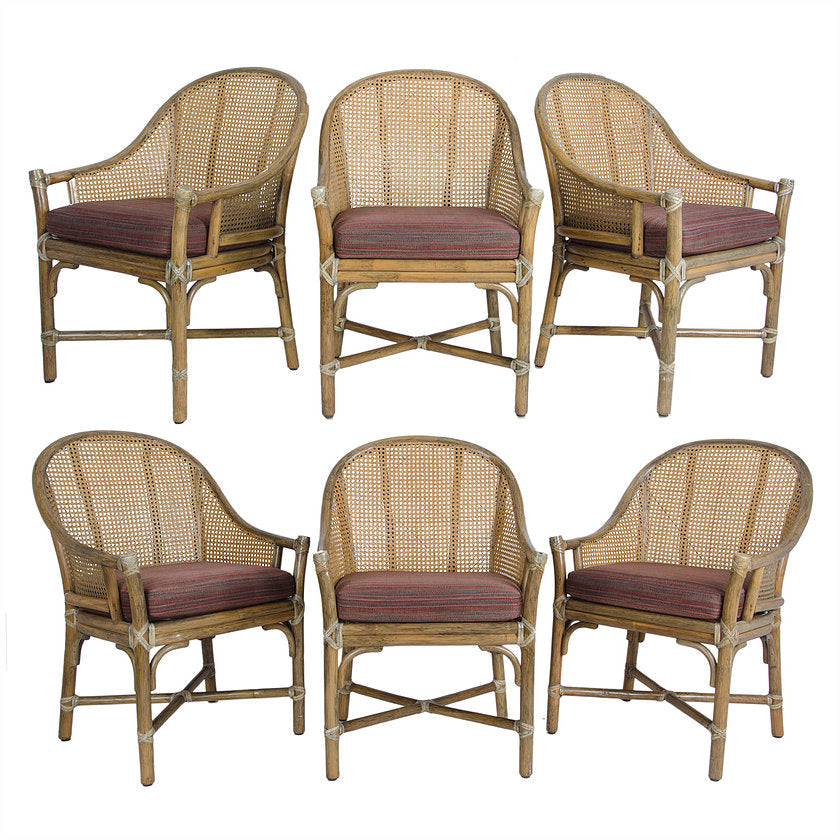 McGuire Rattan & Cane Dining Chairs - Set of 6