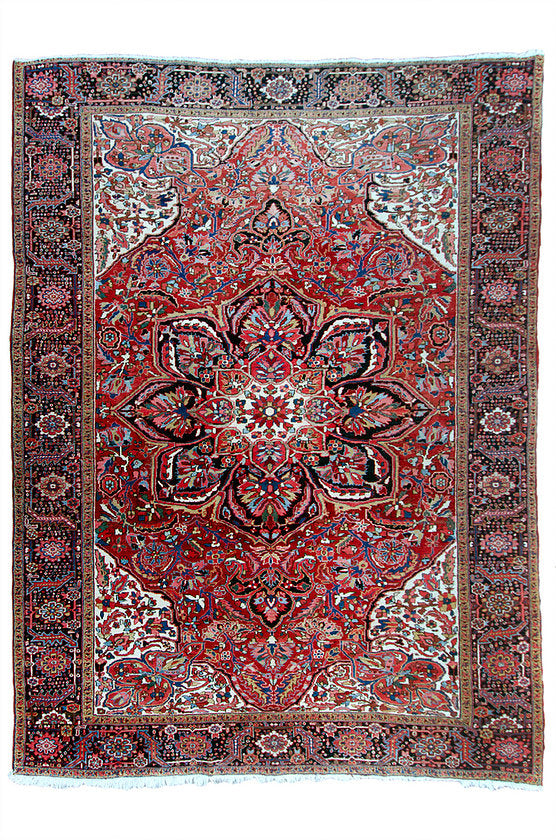 "Antique Persian Heriz Rug - 9' 11"" by 13' 1"""
