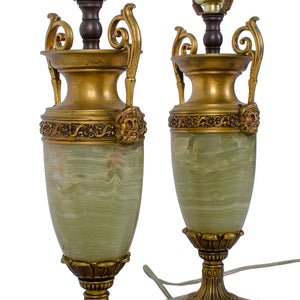 French Louis XV Style Onyx and Ormolu-Mounted Lamps - a Pair