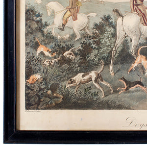 Dogs Having Lost Right Scent, Debucourt Hunt Scene Engraving