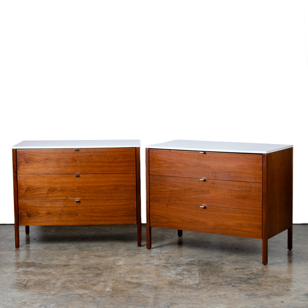Pair of Florence Knoll Walnut Dressers