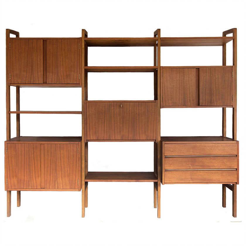 Danish Modern Walnut Modular Wall Unit