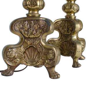 Baroque Alter Style Candlestick Lamps - A Pair