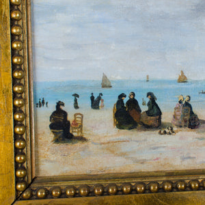 After Eugène Boudin - French Beach Scene, Oil on Canvas
