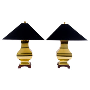 Chinoiserie Ginger Jar Brass Lamps - A Pair