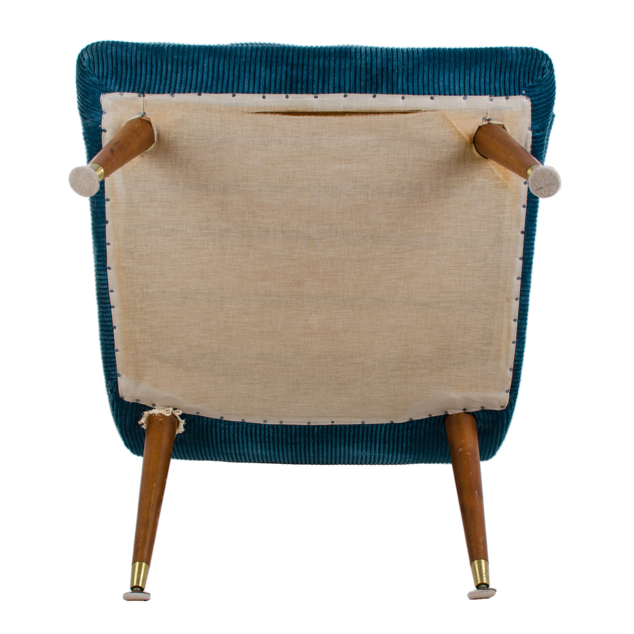 Mid-Century Modern Blue Ribbed Velvet Chair