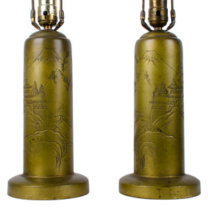 Signed Japanese Mt. Fuji Engraved Brass Lamps - A Pair