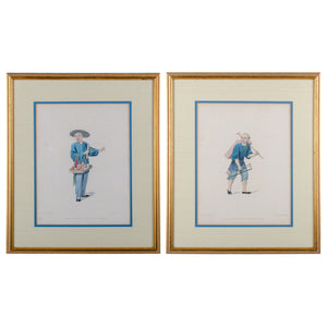 The Costume of China Stipple Engraving by J. Dadley - A Pair