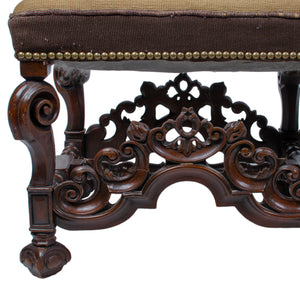 Charles II Style Needlepoint Carved Walnut Bench