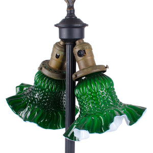 Antique Cast Iron Green Glass Lamp