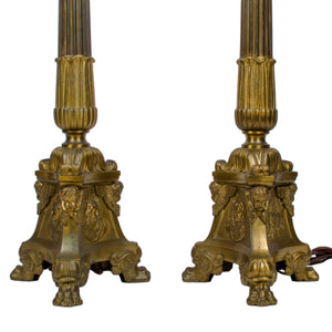 Baroque Alter Candlestick Floor Lamps - A Pair