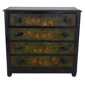Victorian Polychrome Floral Painted Chest of Drawers