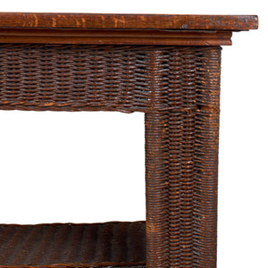 Arts & Crafts Wicker Library Table