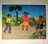 ORIGINAL BLACK ART/PAINTING: 3 CHILDREN JUMPING ROPE/AFROCENTRIC ART