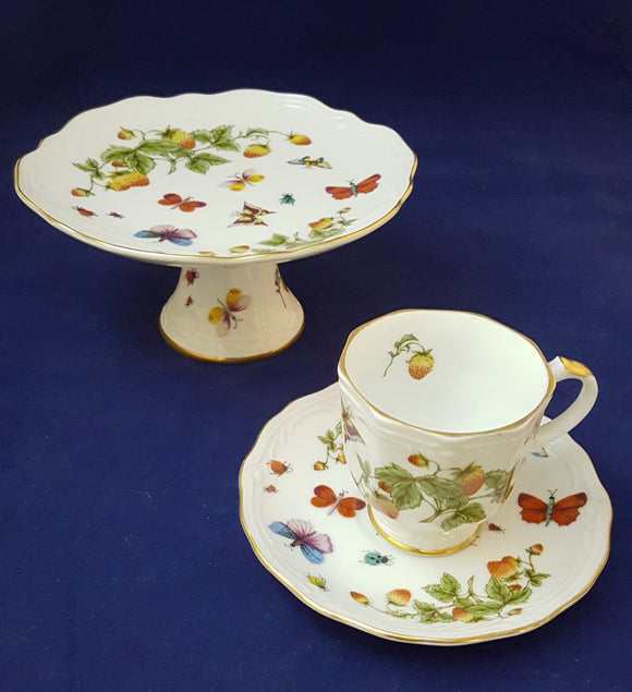 STRAWBERRY&BUTTERFLY DESSERT SET/GIFT: CAKE PLATE, CUP &SAUCER by ARDALT LENWILE