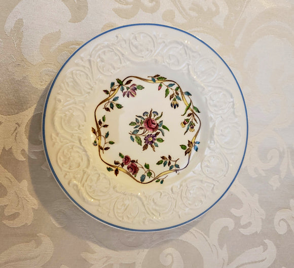 ROSE&RIBBON PATTERN ARGYLE WEDGWOOD PLATES, 6 PIECE SET/GIFT/HOSTESS GIFT