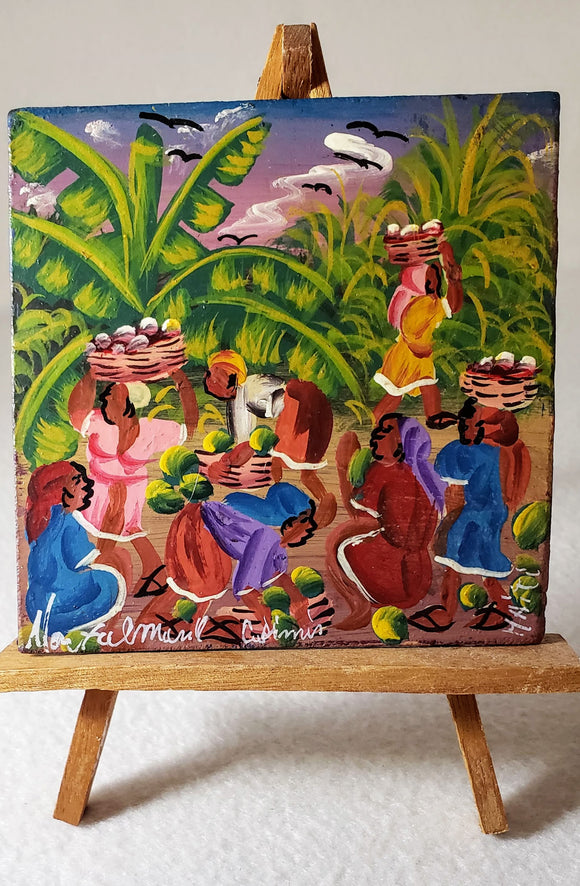 AFROCENTRIC ART/ORIGINAL BLACK ART/PAINTING--BLACK WOMEN HARVESTING FRUIT