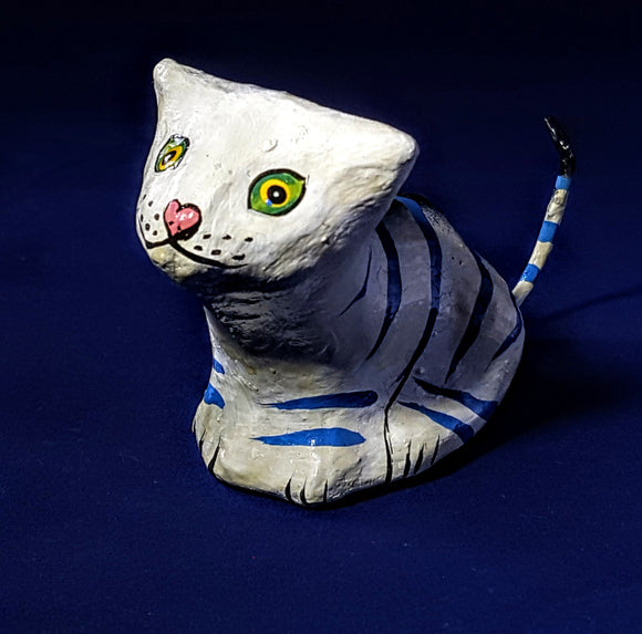 HAND-PAINTED MINIATURE BLACK & WHITE CAT--THE PURR-FECT GIFT/HOME OFFICE ACCENT