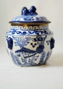 BOMBAY SEASCAPE TEMPLE JAR/CHINOISERIE  DECOR/HOSTESS GIFT