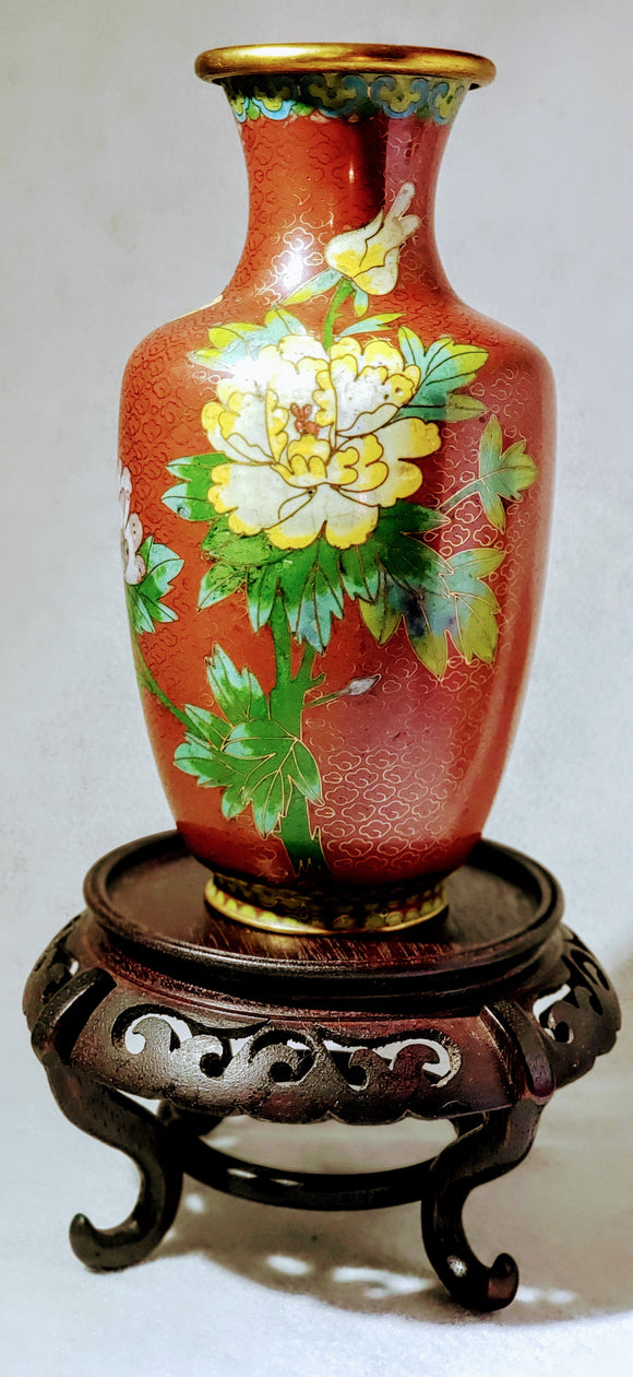 CLOISONNE VASE, vintage, Peony & Butterfly Floral Motif, Chinese Cloisonne, Asian decor, Red