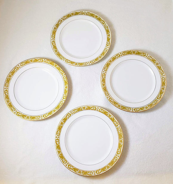 CONCERTO BY MIKASA: gold-rimmed Salad/Dessert plates, Set of 4