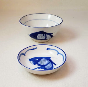 CHINESE FISH PATTERN BOWL&DISH SET