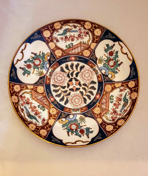 GOLD IMARI CHARGER, HAND-PAINTED/ GENUINE IMARI/ ASIAN DECOR