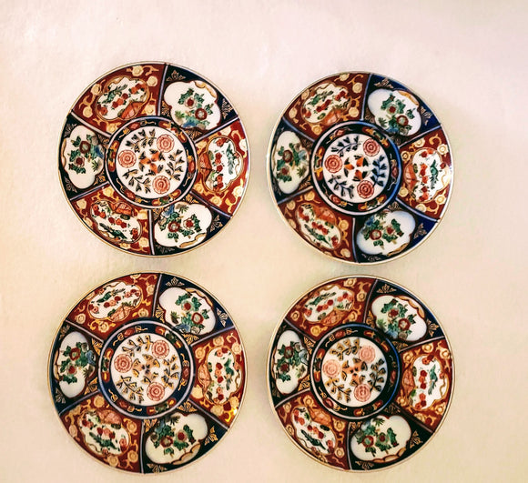 GOLD IMARI PLATES, SET OF 4/ GENUINE IMARI/ ASIAN DECOR/GIFT