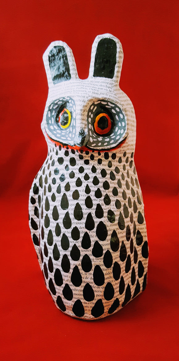 CONTEMPORARY/AFROCENTRIC ART/DECOR: HANDPAINTED PAPER MACHE OWL/OWL COLLECTIBLES/HANDMADE IN HAITI