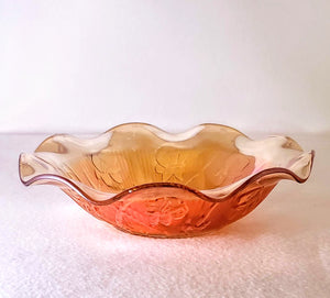 IRIS-HERRINGBONE CARNIVAL GLASS BOWL/ FLUTED EDGE/ IRIDESCENT MARIGOLD
