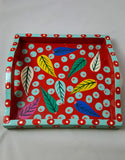 CONTEMPORARY/ CASUAL SERVEWARE/ HANDPAINTED MULTICOLOR LEAF SERVING TRAY/ KITCHEN/GIFTS