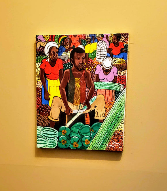 AFROCENTRIC ART/ORIGINAL BLACK ART/PAINTING--MARKET MAN, CUTTING CANE