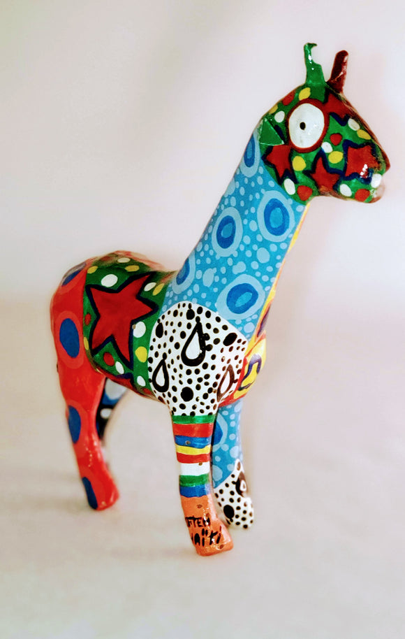 MULTI-COLOR HANDPAINTED GIRAFFE/ HANDCRAFTED/ DECOR/HOME OFFICE/ AFROCENTRIC