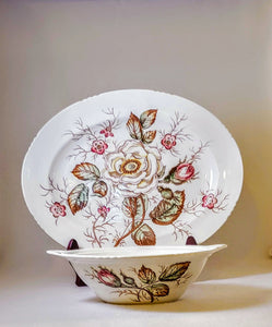 OLD ROSE SERVING BOWL by JOHN MADDOCK&SONS GIFT/HARVEST/FALL