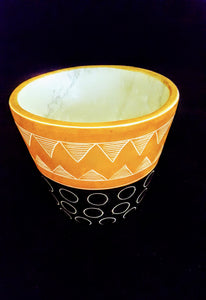 MODERN/ AFROCENTRIC  PATTERNED 2-TONE MARBLE BOWL/ HANDCARVED