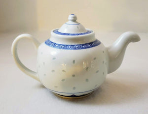 RICE PATTERN CLASSIC CHINESE TEAPOT BLUE&WHITE