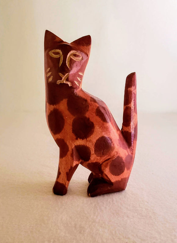 MODERN DECOR/ SPOTTED WOOD CAT, HANDCARVED/ HANDPAINTED/ AFROCENTRIC/CAT FIGURINE/ GIFT