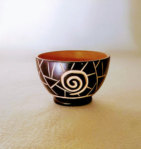 SACRED SWIRL SYMBOL WOOD BOWLS, HANDCARVED FROM MANGO WOOD, 3 SIZES, AFROCENTRIC DECOR