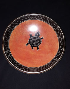 AFROCENTRIC/MODERN  STONE BOWL, TURTLE MOTIF, TERRA COTTA, HANDCRAFTED, DECOR,