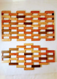 SPACE-SAVING DECORATIVE FOLDING WOOD TRIVETS/ CONTEMPORARY/SERVEWARE/ GIFT