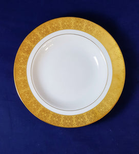 "GOLD & GORGEOUS 9"" SERVING PLATTER: Scroll pattern Gold Rim"
