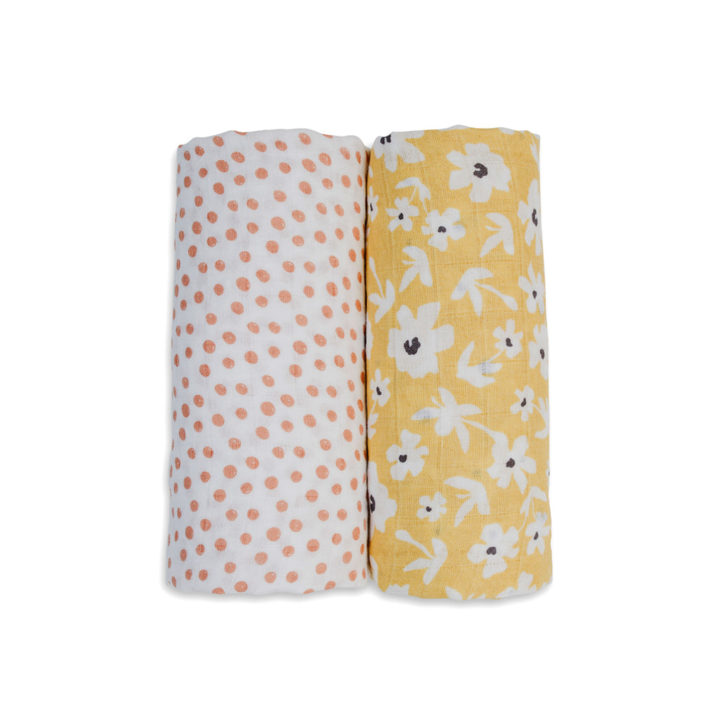 Yellow Wildflowers & Dots Swaddles
