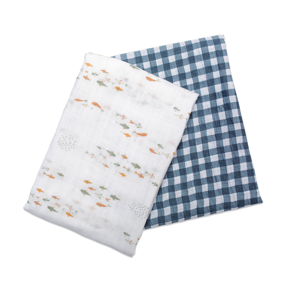 Navy Gingham & Fish Swaddles