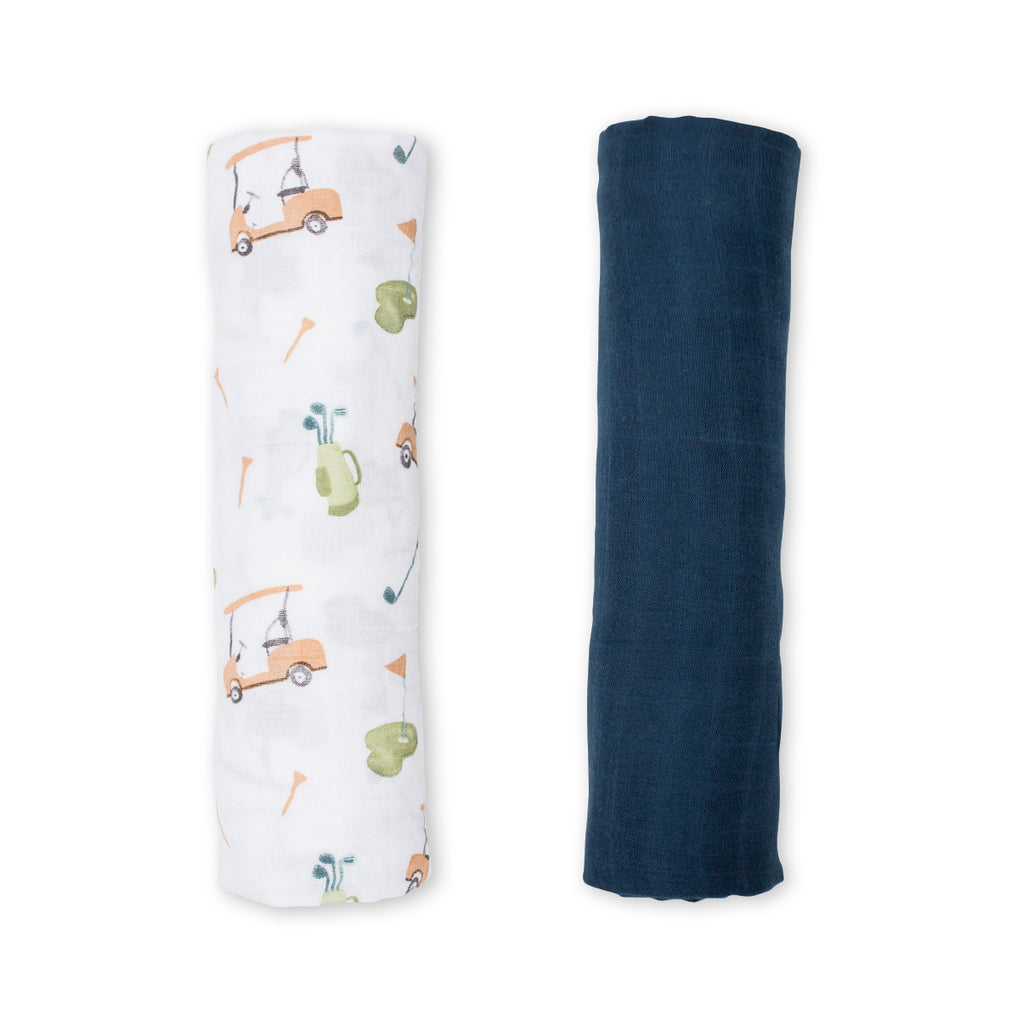 Golf & Navy Swaddling Blankets- 2 Pack
