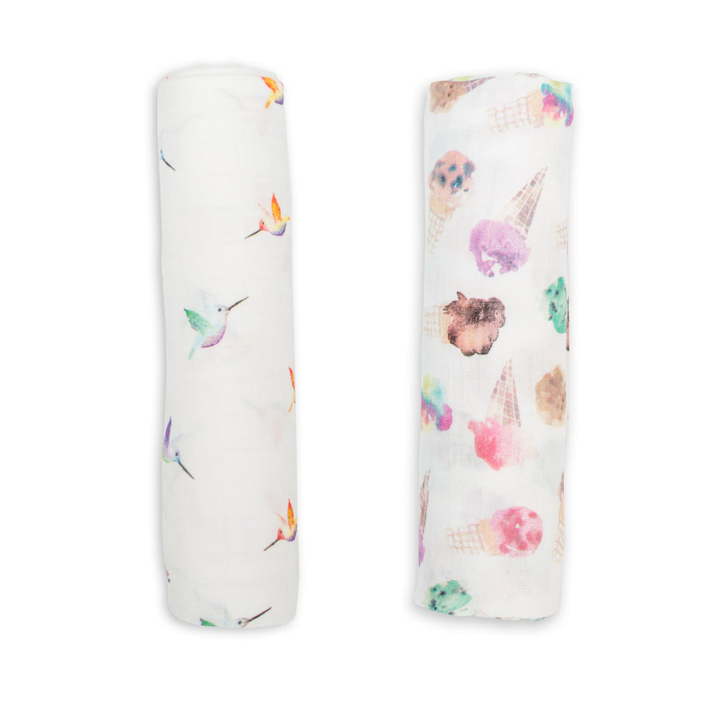 Hummingbird & Ice Cream Swaddling Blankets- 2 Pack