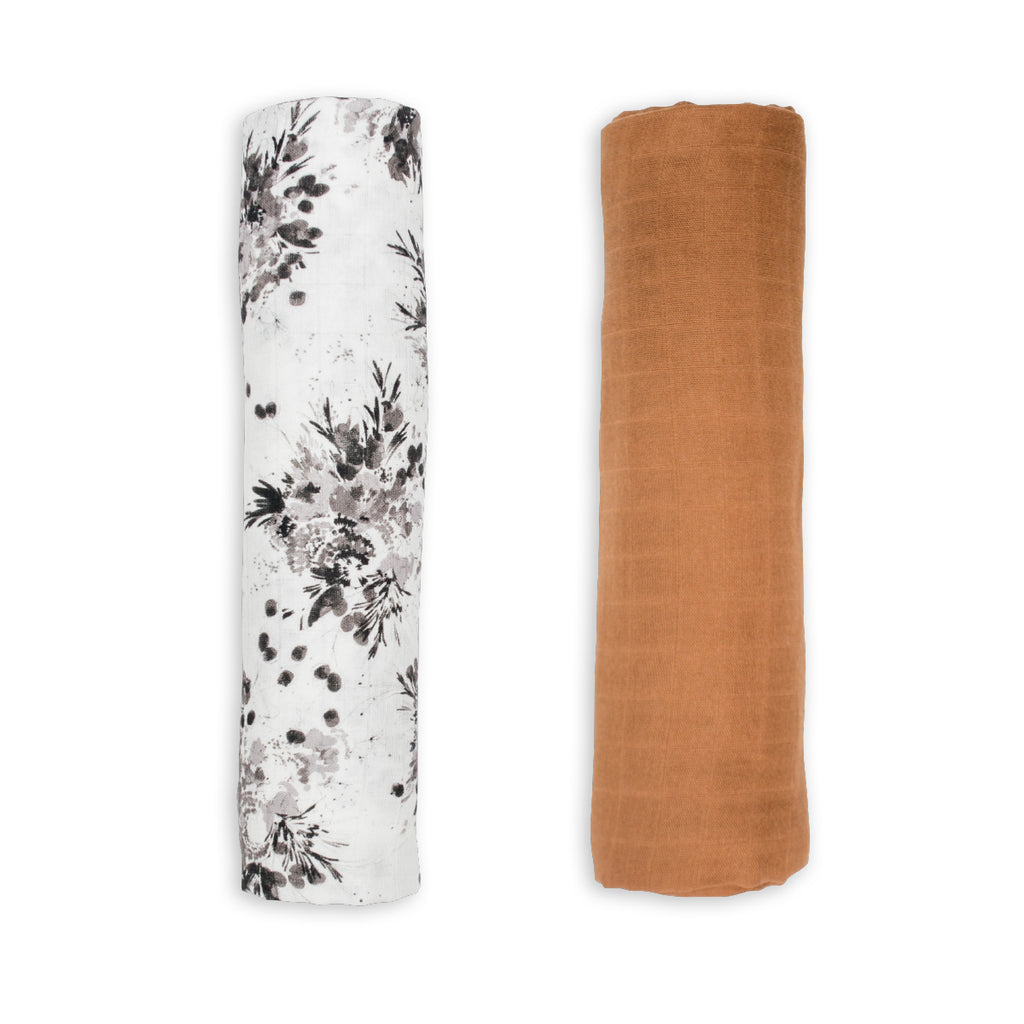 Black Floral & Tan Swaddling Blankets- 2 Pack