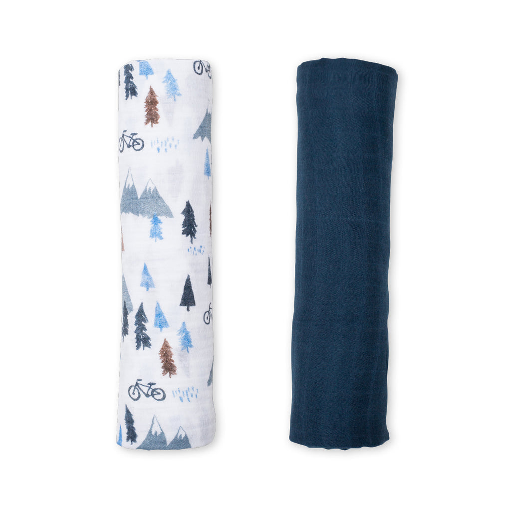 Mountain Top & Navy Swaddling Blankets- 2 Pack