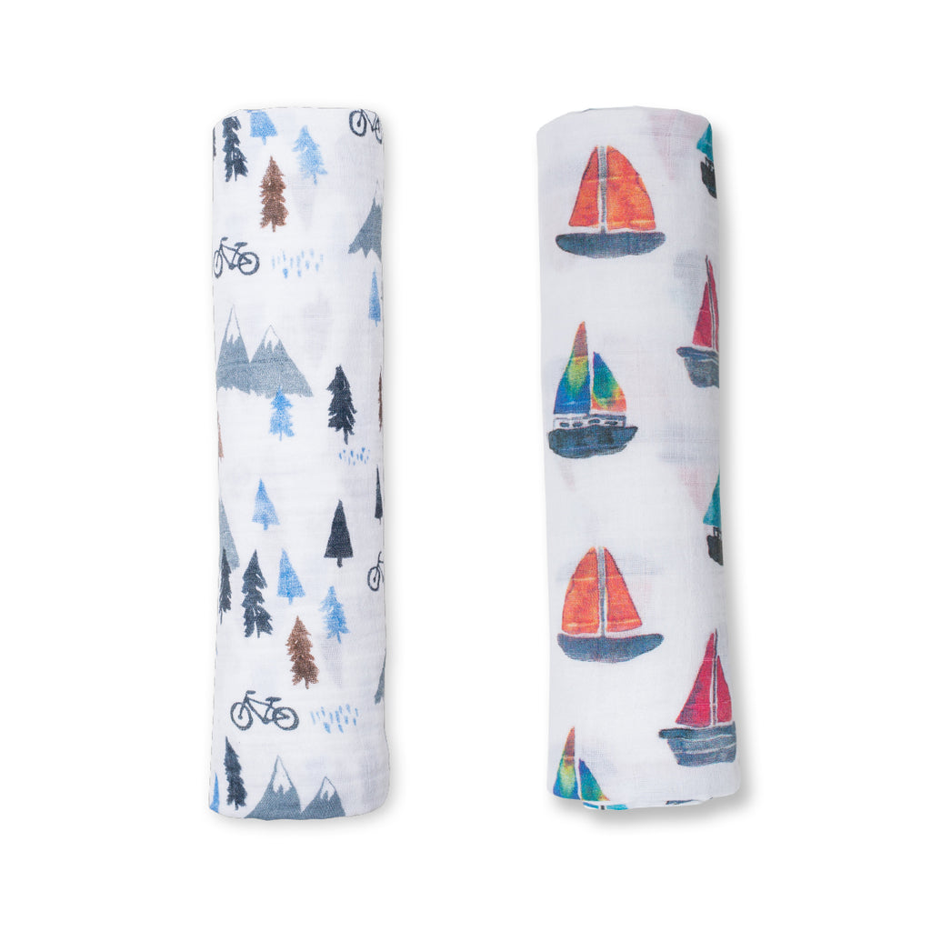 Mountain Top & Sailboat Swaddling Blankets- 2 Pack